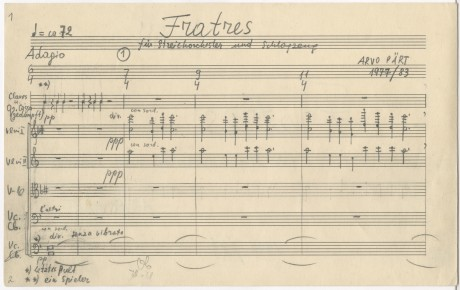 Fratres (1977). Three-part music without fixed instrumentation