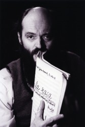 Arvo Pärt with the score of Tabula rasa