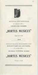 Program of the first tintinnabuli concert 27.10.1976 by ensemble Hortus Musicus