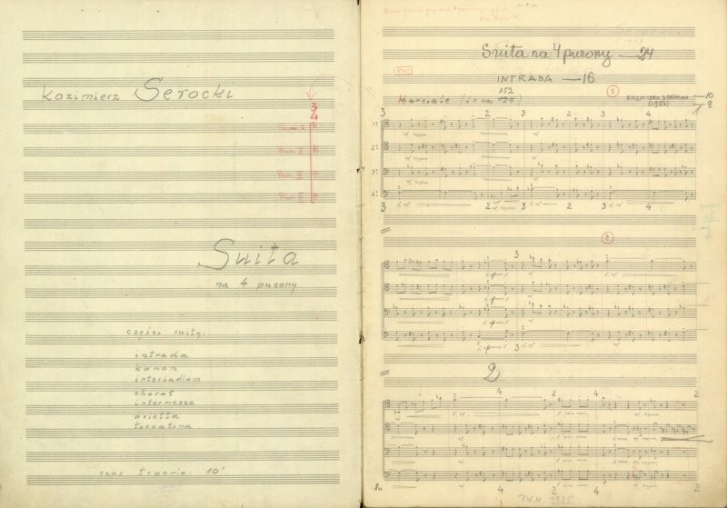 Manuscript of Suite for 4 trombones